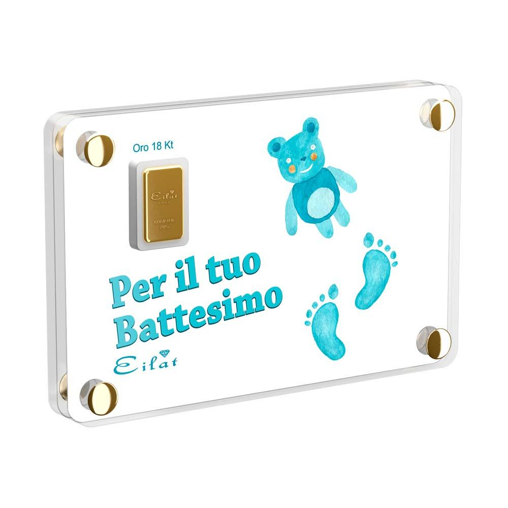 Regalo Gold Battesimo | Blister Gold 0,7gr | Confezione Led