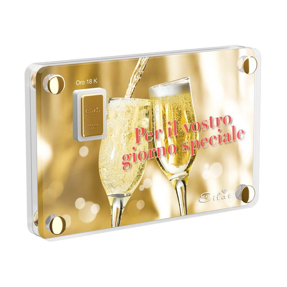 Regalo Gold Matrimonio   Blister Gold 1,0gr   Confezione Led