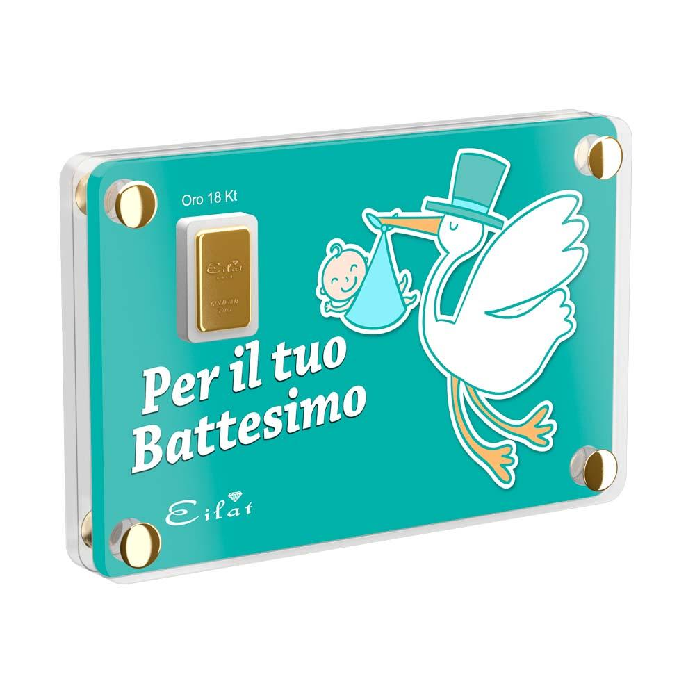 Regalo Gold Battesimo | Blister Gold 0,5gr | Confezione Led